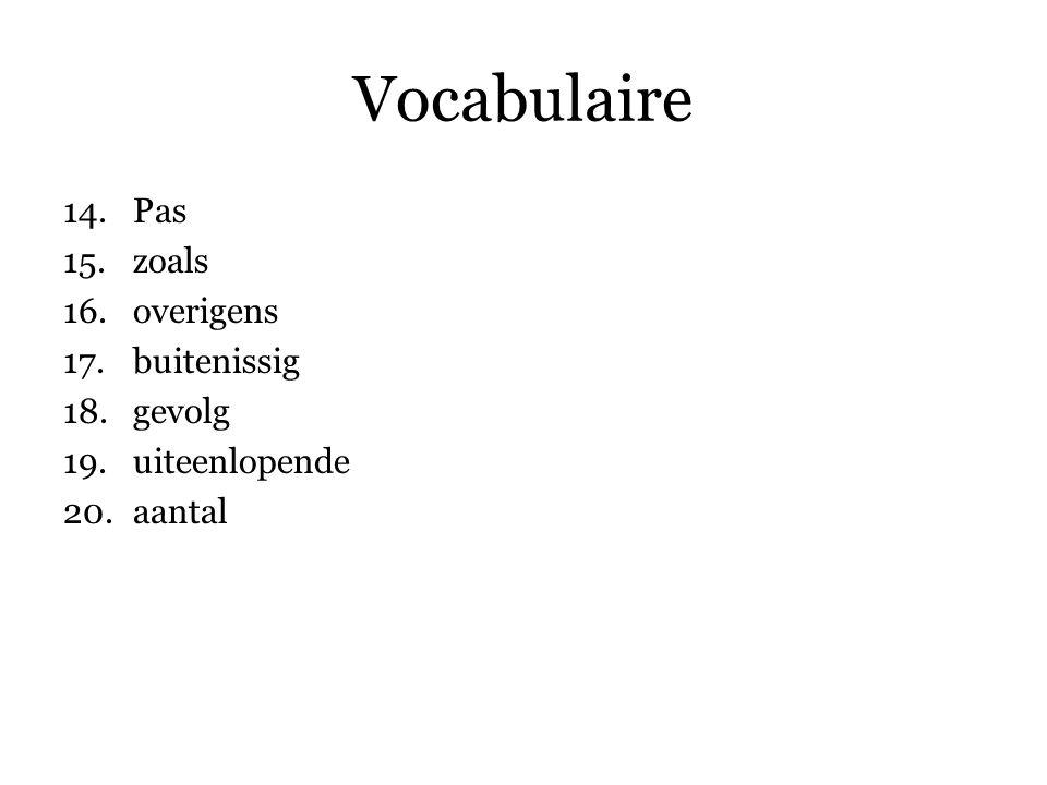 Vocabulaire 14.Pas 15.zoals 16.overigens 17.buitenissig 18.gevolg 19.uiteenlopende 20.aantal 21.op … maken