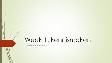 Week 1: kennismaken Mindset en feedback.