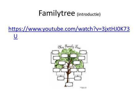 Familytree (introductie) https://www.youtube.com/watch?v=3jxtHJ0K73 U.