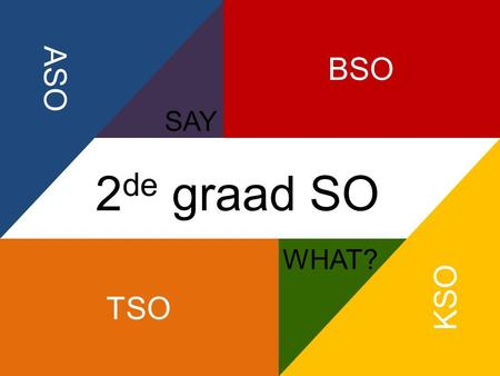 KSO BSO SAY ASO TSO SAY WHAT? 2 de graad SO. Hallo! Ik ben Dorien. Ik ben 14 en zit in het derde jaar algemeen secundair onderwijs (ASO). Benieuwd waarom.