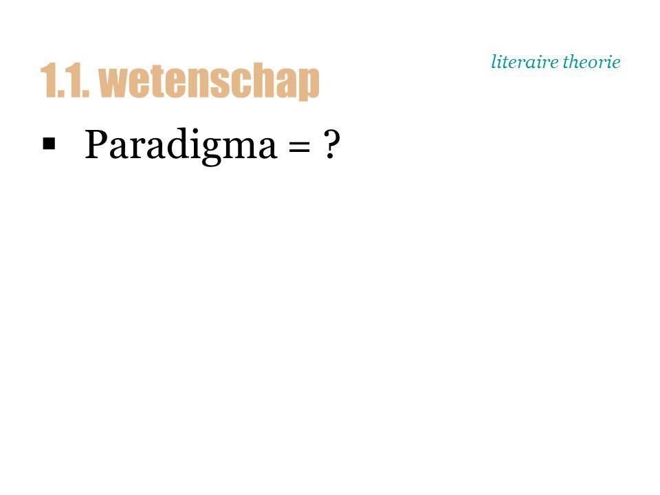 literaire theorie  Paradigma [p. 21-22]  Paradigmawissel = ? 1.1. wetenschap