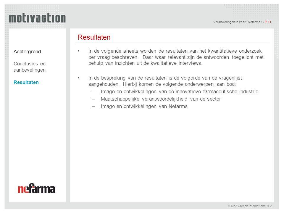 Veranderingen in kaart, Nefarma / / P.12 © Motivaction International B.V.