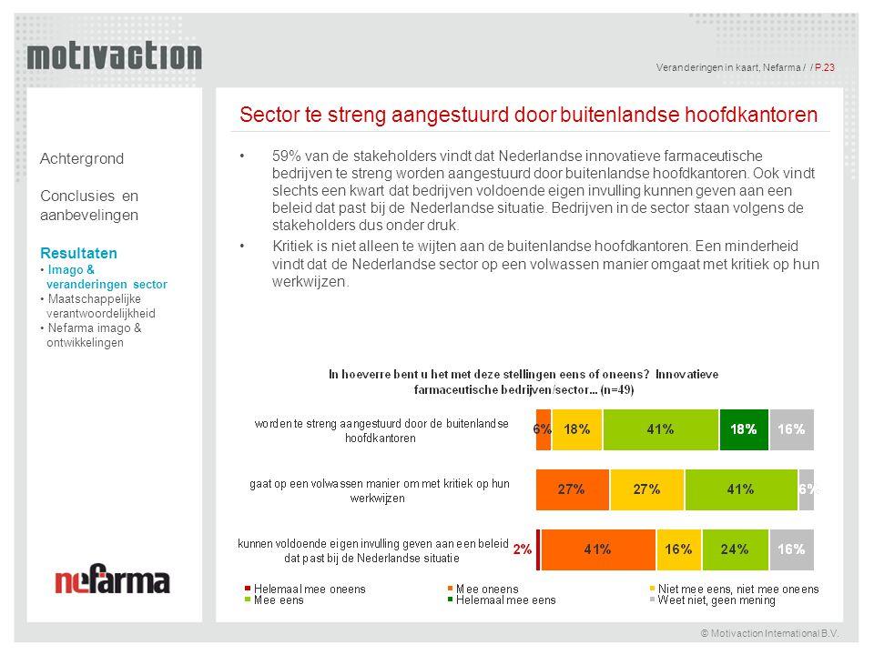 Veranderingen in kaart, Nefarma / / P.24 © Motivaction International B.V.