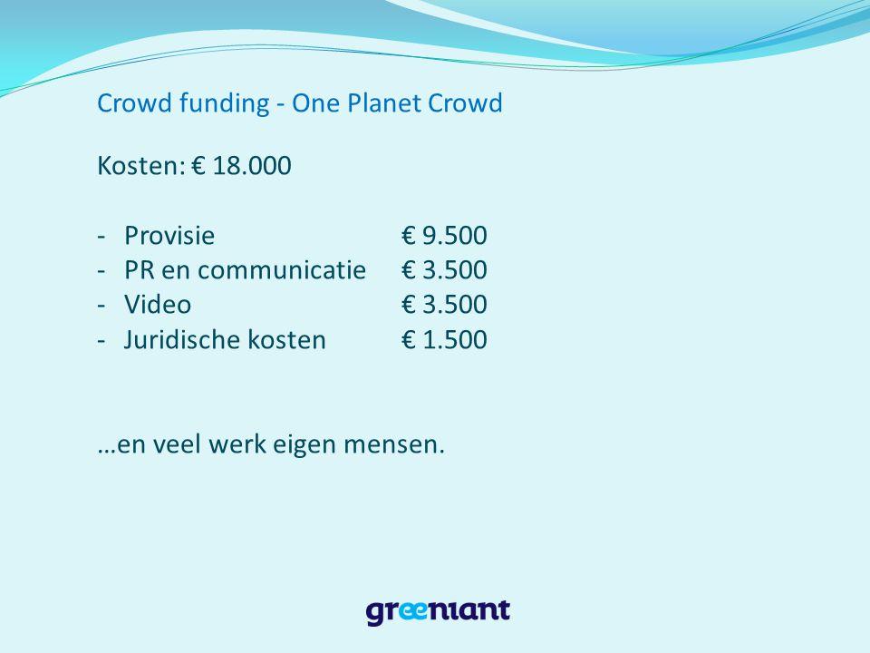 Crowd funding - One Planet Crowd Lessons learned Kies platform/crowd dat bij je product en missie past Arbeidsintensief, kost veel tijd maar loont.