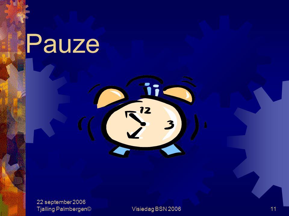 22 september 2006 Tjalling Palmbergen©Visiedag BSN 200611 Pauze