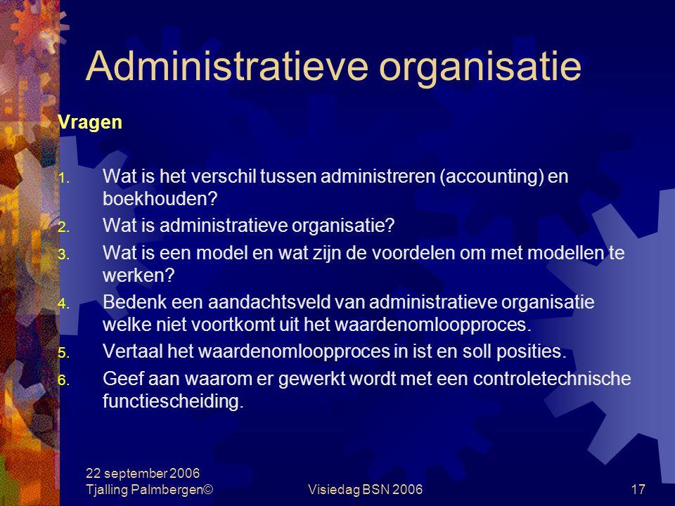 22 september 2006 Tjalling Palmbergen©Visiedag BSN 200617 Administratieve organisatie Vragen 1.