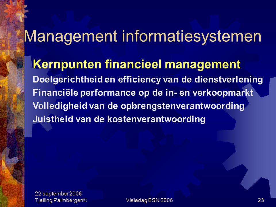 22 september 2006 Tjalling Palmbergen©Visiedag BSN 200623 Management informatiesystemen Kernpunten financieel management Doelgerichtheid en efficiency van de dienstverlening Financiële performance op de in- en verkoopmarkt Volledigheid van de opbrengstenverantwoording Juistheid van de kostenverantwoording