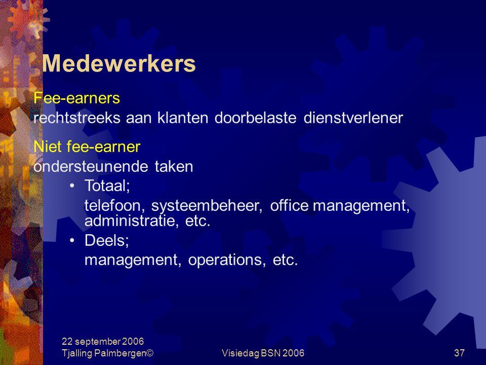 22 september 2006 Tjalling Palmbergen©Visiedag BSN 200637 Medewerkers Fee-earners rechtstreeks aan klanten doorbelaste dienstverlener Niet fee-earner ondersteunende taken Totaal; telefoon, systeembeheer, office management, administratie, etc.