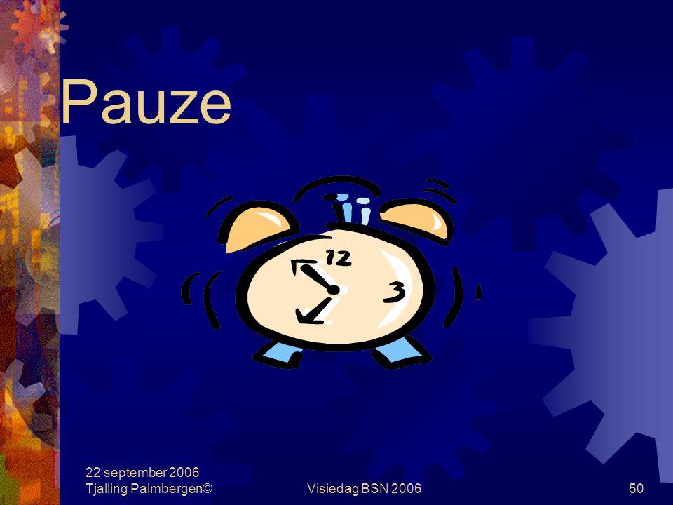 22 september 2006 Tjalling Palmbergen©Visiedag BSN 200650 Pauze