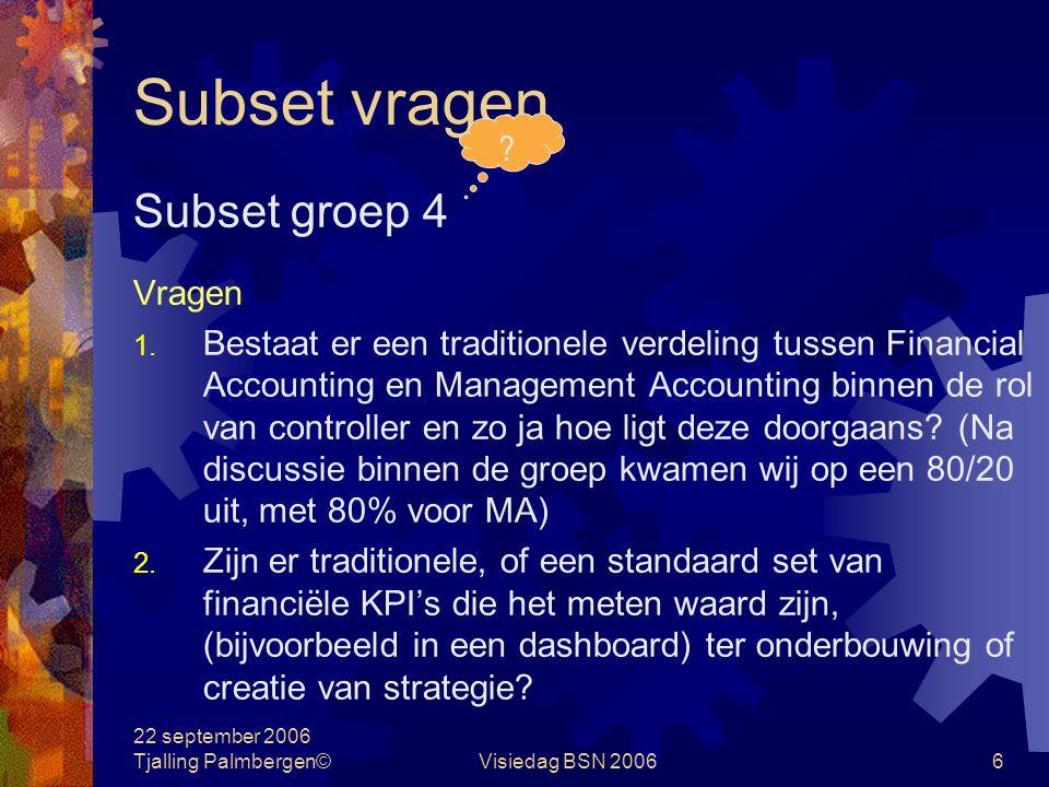 22 september 2006 Tjalling Palmbergen©Visiedag BSN 20066 Subset vragen Subset groep 4 Vragen 1.