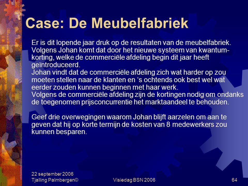 22 september 2006 Tjalling Palmbergen©Visiedag BSN 200664 Case: De Meubelfabriek Er is dit lopende jaar druk op de resultaten van de meubelfabriek.