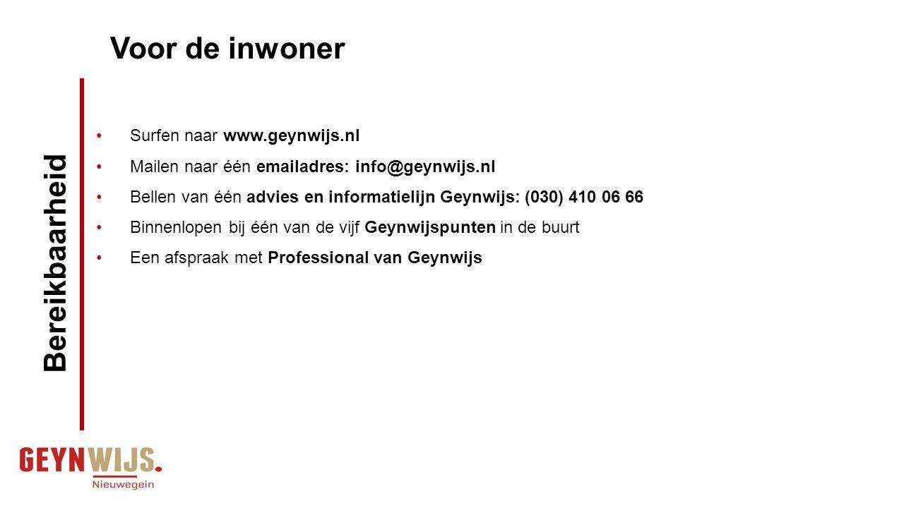 Zoekt op de www.geynwijs.nl Mailt naar emailadres van Geynwijs Professionals of medewerker van het Geynwijspunt: info@geynwijs.nl Belt advies en informatielijn van Geynwijs of rechtstreeks met medewerker van Geynwijspunt (030) 410 06 66 Voor de Professional /verwijzer /vrijwilliger Bereikbaarheid