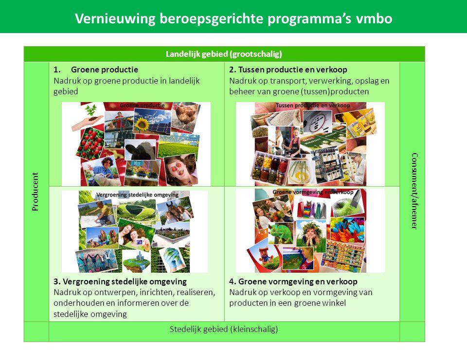 Vernieuwing beroepsgerichte programma's vmbo Landelijk gebied (grootschalig) Producent 1.