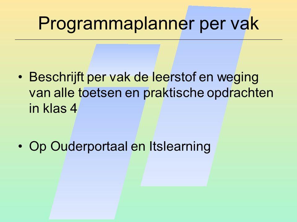 PTA (Programma van Toetsing en Afsluiting) Beschrijft de weging van de toetsen en praktische opdrachten Bevat het examenreglement met o.a.