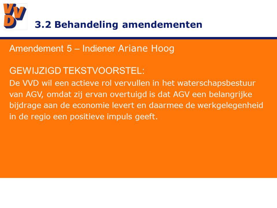 3.2 Behandeling amendementen Amendement 5 – Indiener Ariane Hoog TOELICHTING In de huidige inleiding ontbreekt iets over het gebied AGV en het belang van het waterschap voor de bewoners en bedrijven.