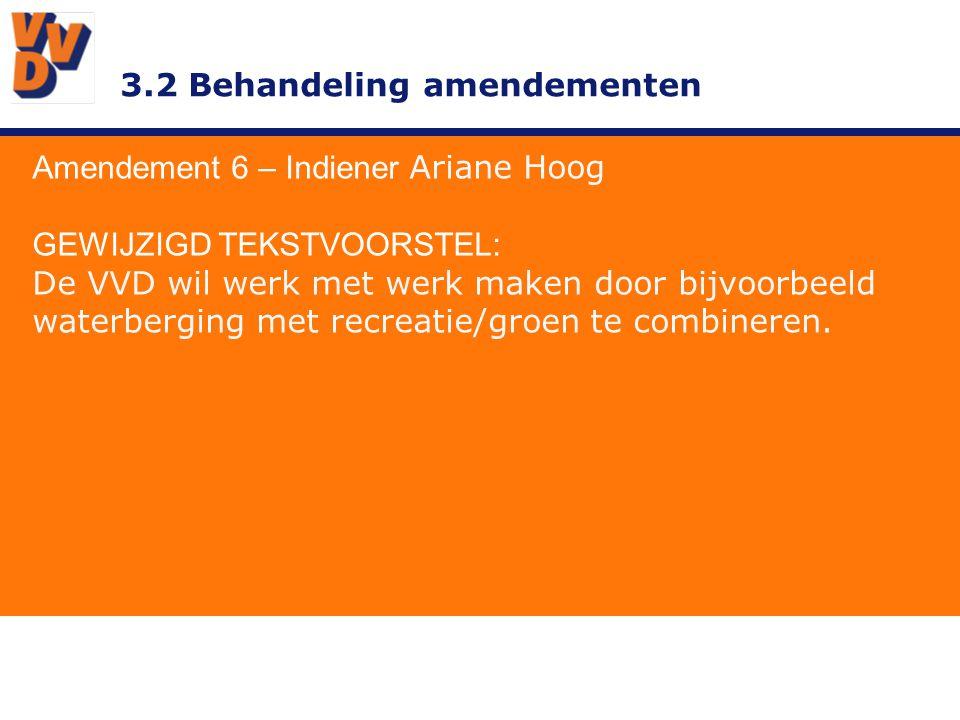 3.2 Behandeling amendementen Amendement 6 – Indiener Ariane Hoog TOELICHTING Door het voorbeeld van recreatie te kiezen houdt je het breder en is beter toegankelijk voor ondernemers.