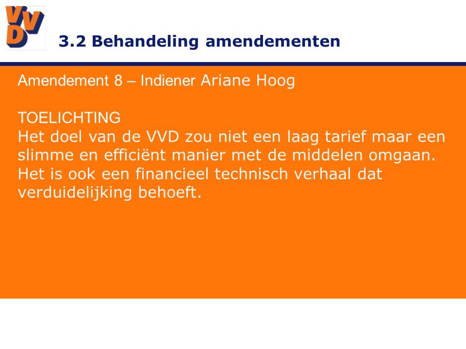 3.2 Behandeling amendementen Amendement 8 – Indiener Ariane Hoog ADVIES BESTUUR Overnemen.
