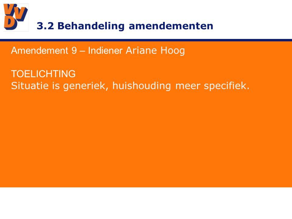 3.2 Behandeling amendementen Amendement 9 – Indiener Ariane Hoog ADVIES BESTUUR Overnemen.