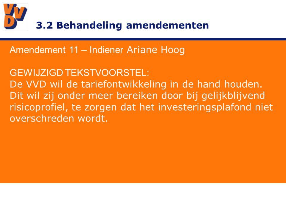 3.2 Behandeling amendementen Amendement 11 – Indiener Ariane Hoog TOELICHTING Bij de huidige regel zouden we geen extra investering kunnen doen.