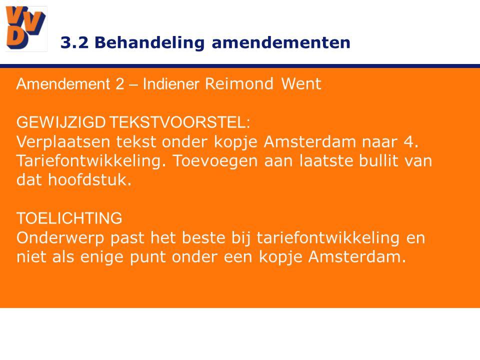 3.2 Behandeling amendementen Amendement 2 – Indiener Reimond Went ADVIES BESTUUR Ontraden.