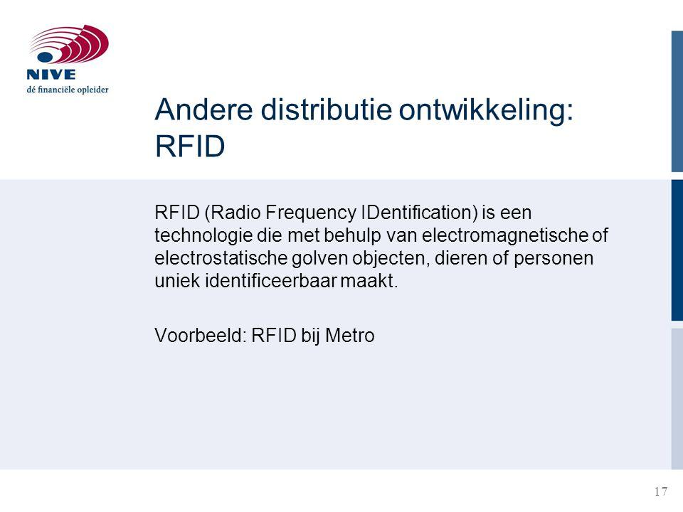 18 Implementatie RFID: kosten versus baten Baten −Procesbeheersing (tracking & tracing) −Voorraadniveaus −Servicegraad/ neen verkopen −Derving/ shrinkage −Terugroepacties / foutieve leveringen −Arbeidskosten −Communicatie (intern, extern) Kosten −Eenmalige investering Systemen Software Taglezers Training −Wederkerige kosten Onderhoud RFID-tags Implementatie RFID over de gehele Supply Chain vormt belangrijke succesfactor !