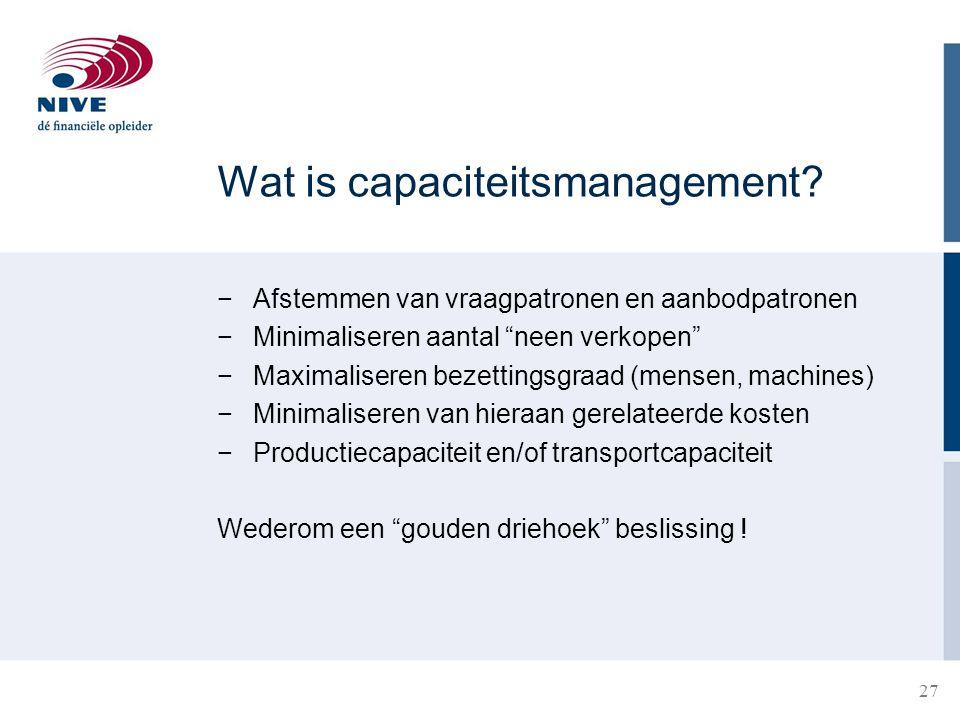 28 Capaciteitsmanagement in een ziekenhuis Instroom: 5 patiënten per dag Ligduur: Gemiddeld 3 dagen per patiënt Gemiddelde bezetting: 5 × 3 = 15 bedden Hoeveel bedden zijn benodigd?