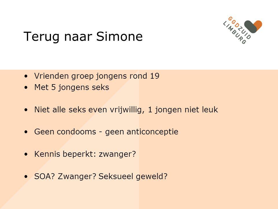 Seksueel gedrag Limburg 2 Meer risicogedrag in Limburg: jongeren starten iets vroeger (16,4) vaker onveilige seks kennis beperkt seksuele competenties risicogroepen: lager opgeleid en/of allochtoon