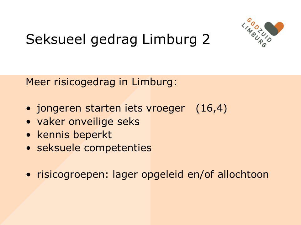 Zwangerschap en anticonceptie jongere groep (<15) 30% (m) en 15 % (v) geen anticonceptie Meisjes (12-19): 3,5% afgelopen jaar morning-afterpil ROC: 3% zwanger, 49% risico ongewenste zwangerschap 4 Limburgse gemeenten in landelijke top 10 tienerzwangerschappen