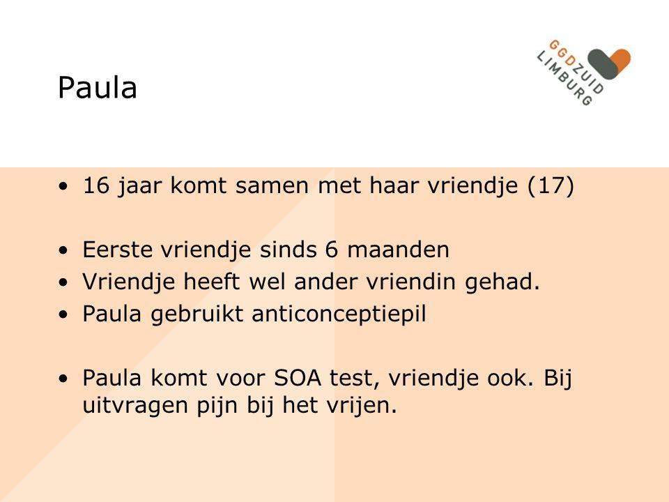 SOA bij jongeren 1 65 % schat de kans dat de kans dat ze een soa kunnen krijgen te laag in 12 % SOA-test Vindpercentage: 12,5% Chlamydia belangrijkste SOA Chlamydia Screening Limburg: 5,1%