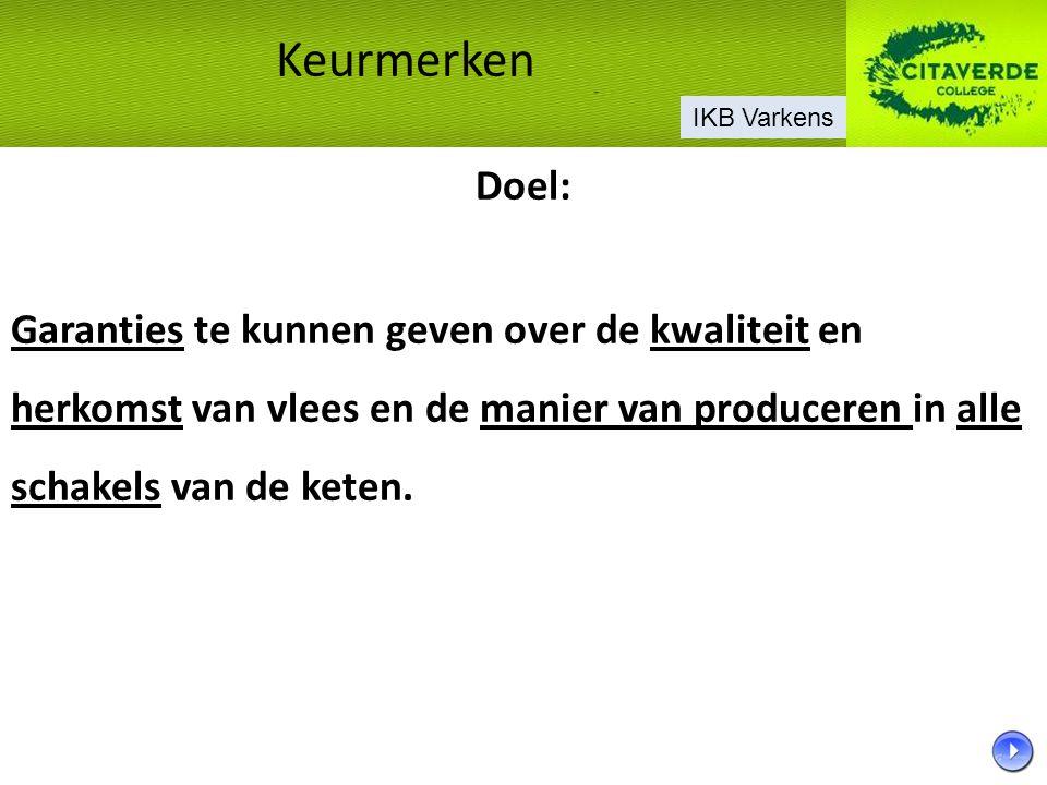 In Nederland zijn er twee private IKB regelingen namelijk: Regeling IKB Varkens  ondersteund door PVV Regeling IKB Nederland Varkens  ondersteund door NVV Deze twee IKB regelingen dekken 95% van de Nederlandse varkenshouderij.