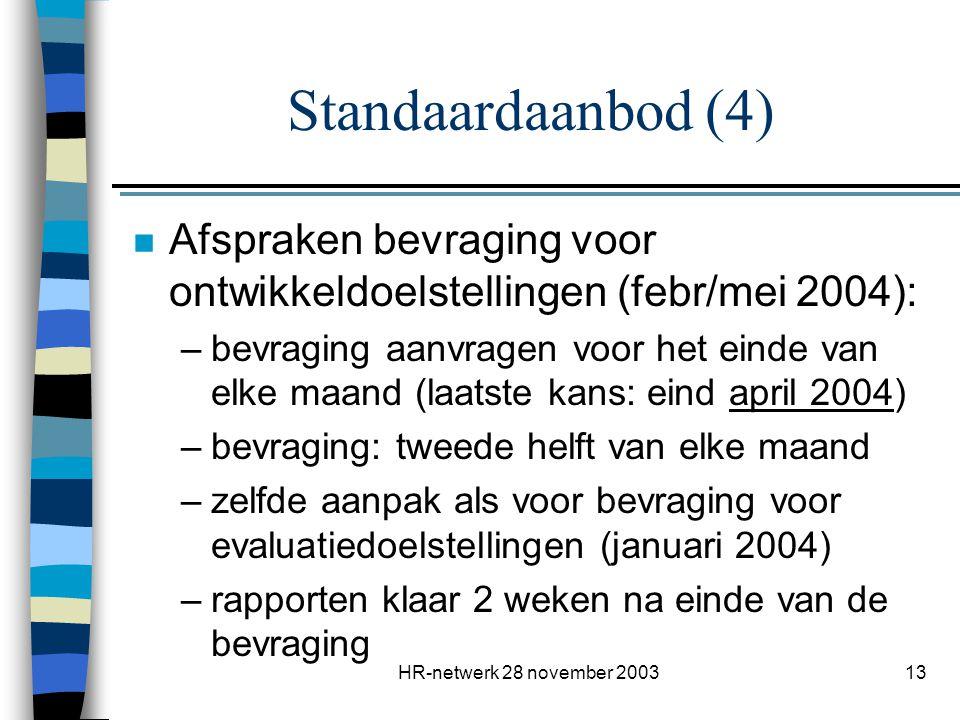 HR-netwerk 28 november 200314 n Centrale coördinatie: Fred Vanhoof: VOI's Marcel Van Lerberge: MVG n Externe consultants: Technische ondersteuning: InSites Ondersteuning natraject: aanbod van verscheidene consultants Standaardaanbod (5)