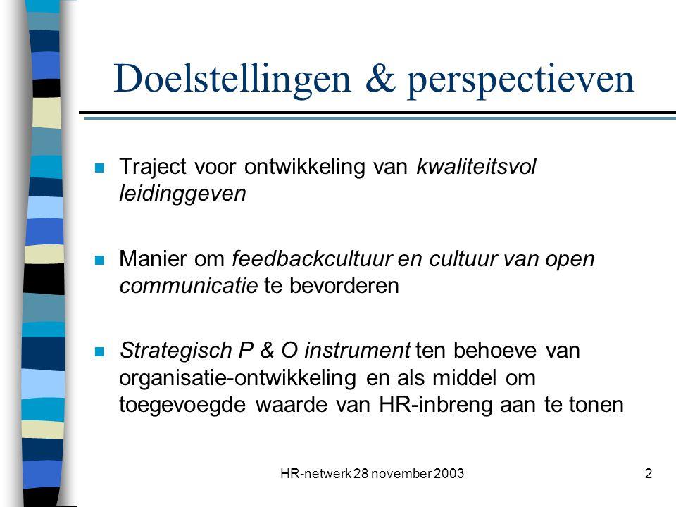 HR-netwerk 28 november 20033 Wat blijft verankerd.