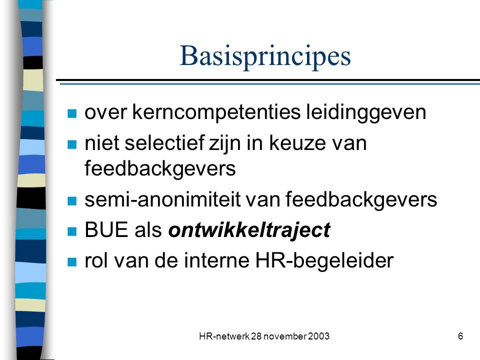 HR-netwerk 28 november 20037 Hoe deze principes realiseren.