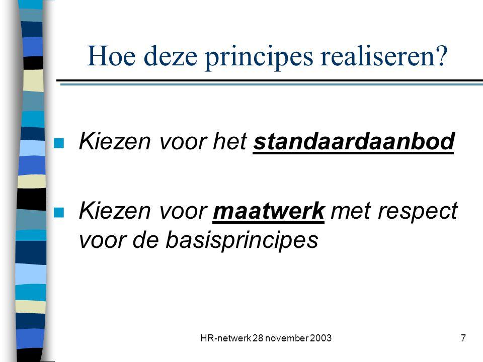 HR-netwerk 28 november 20038 Belang & rol van interne HR-begeleiding (1) n is spilfiguur voor het ganse project.