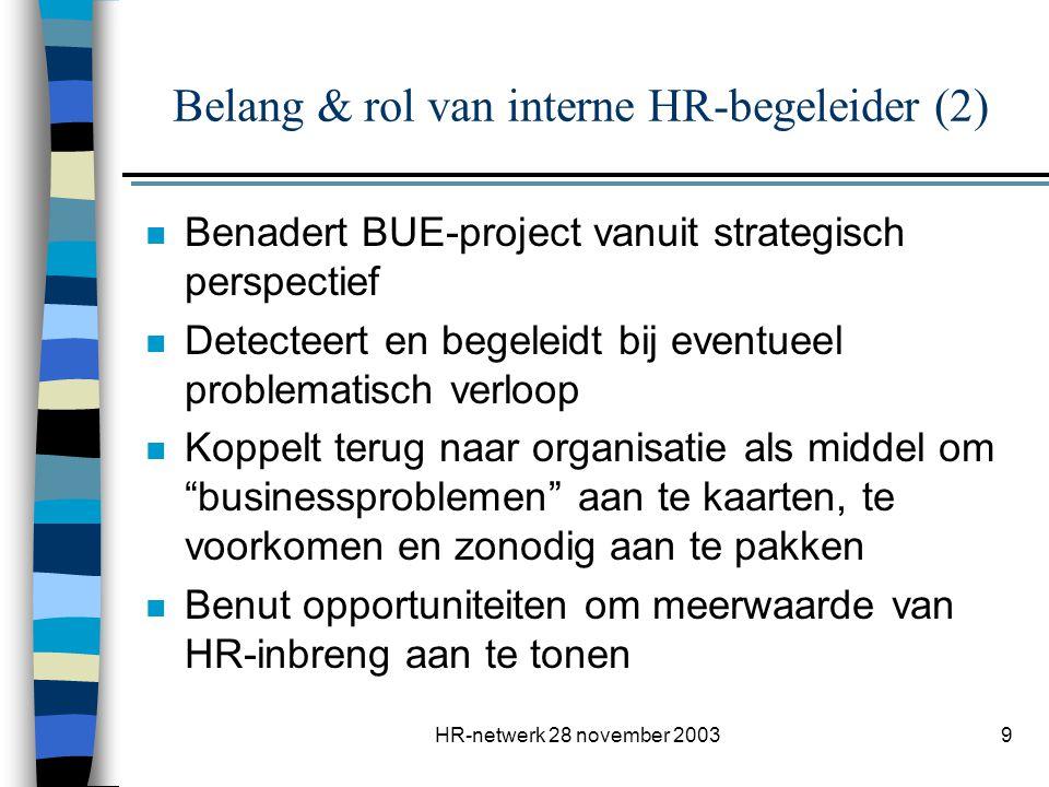 HR-netwerk 28 november 200310 Standaardaanbod (1) n ondersteuning bij de communicatie, o.a.
