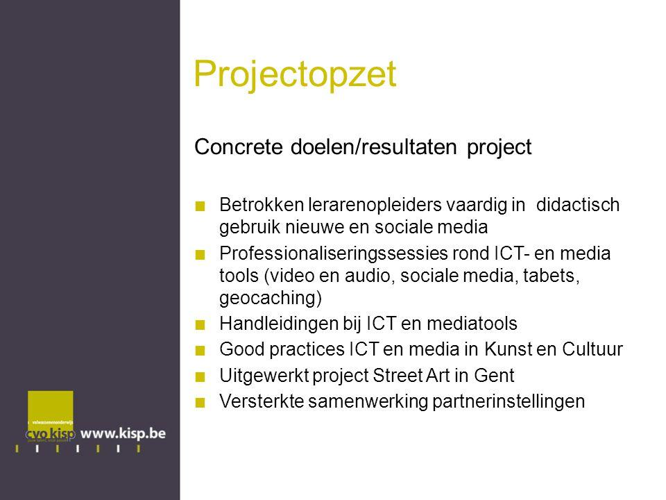 Projectidee Street Art in Gent Via diverse ICT tools lerarenopleiders actief (en stapsgewijs) informatie en inzichten laten verwerven over Street Art in Gent Qr codes Websites Social media Video en audio Apps...