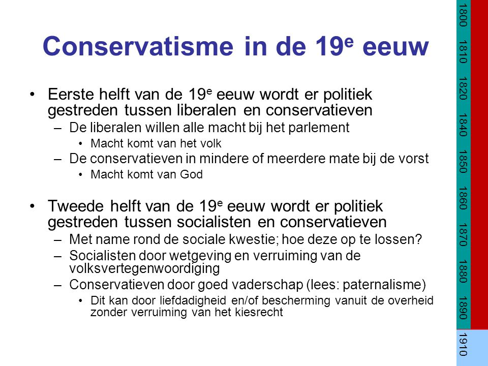 Conservatisme in de 20 e eeuw Eerste helft van de 20 e eeuw ontstaat er geen conservatieve partij, maar conservatieven vinden vaak hun onderdak bij andere partijen.