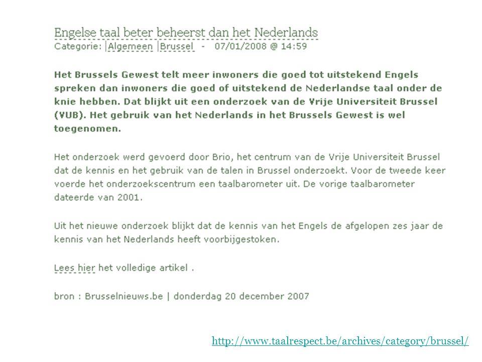 Geschiedenis van het Nederlands  Het Nederlands in het Zuiden Brussel http://www.briobrussel.be/assets/ andere%20publicaties/nl_51_brus13nl.pdf Hedendaagse taalsituatie