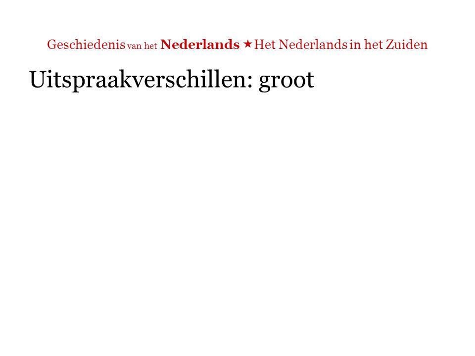 Geschiedenis van het Nederlands  Het Nederlands in het Zuiden Uitspraakverschillen: groot Bijvoorbeeld: uitspraak 'niet' zonder 't'  Ma, Martine, 't is 't moment om te laten zien da ge da nie zijt.