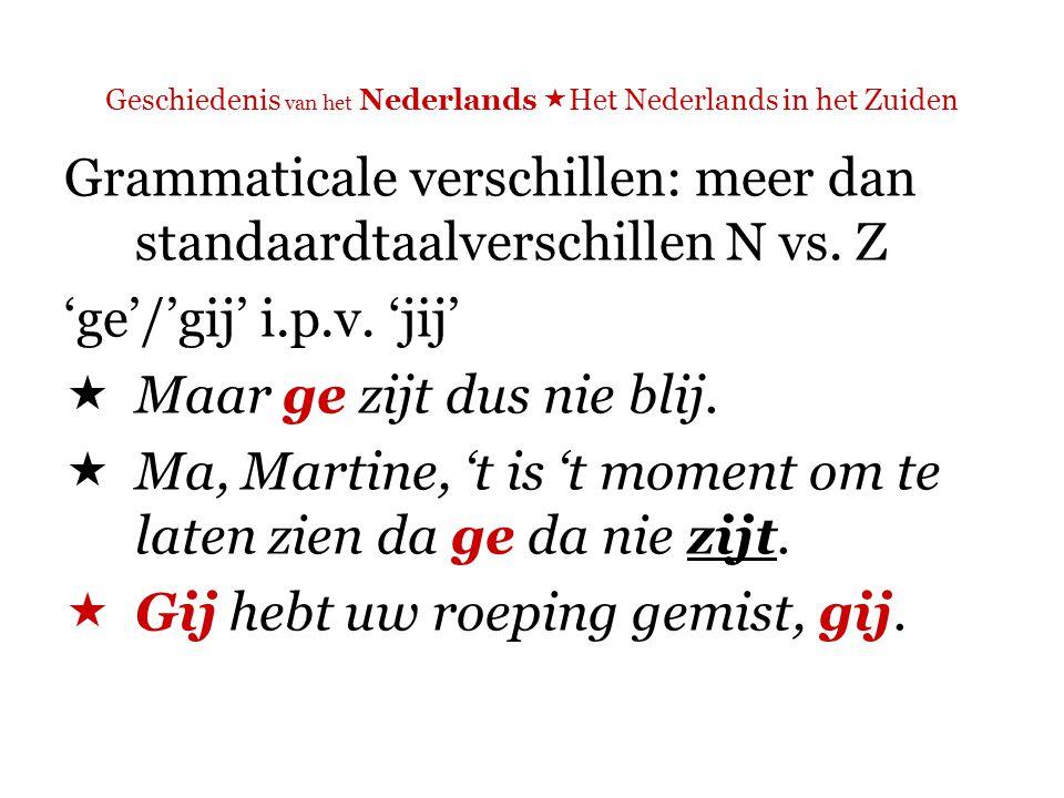 Geschiedenis van het Nederlands  Het Nederlands in het Zuiden Grammaticale verschillen: meer dan standaardtaalverschillen N vs.