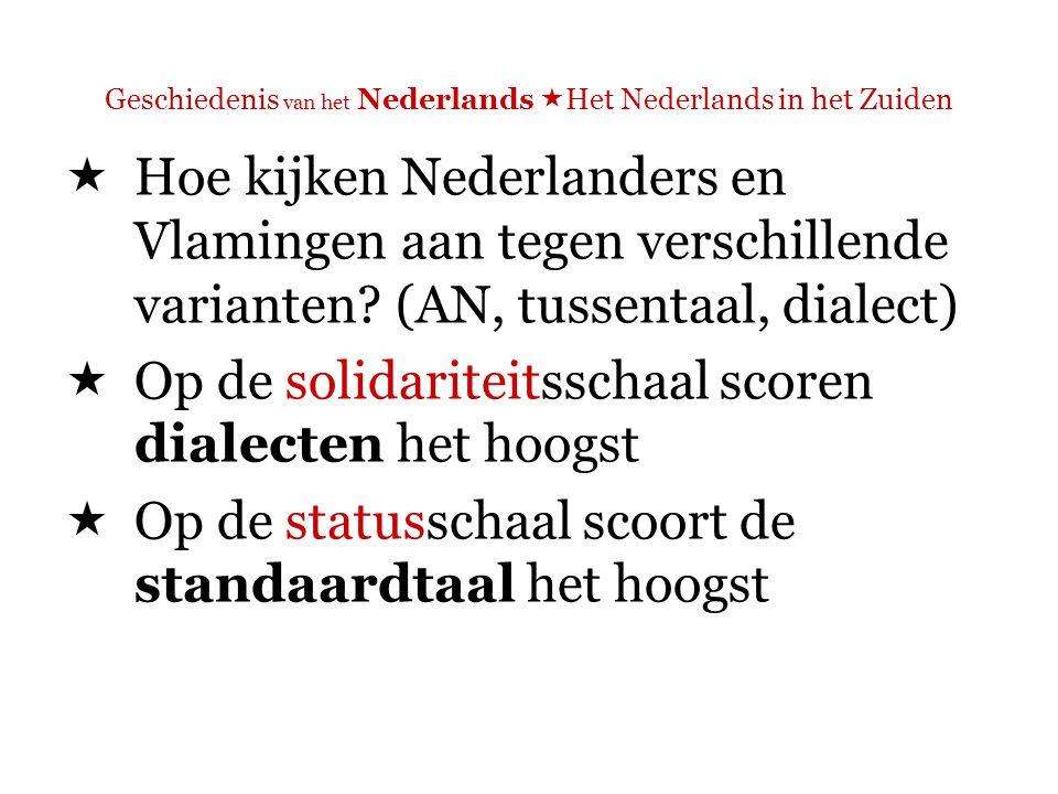 Geschiedenis van het Nederlands  Het Nederlands in het Zuiden  Op de solidariteitsschaal scoren dialecten het hoogst  Associatie met kwaliteiten als loyaliteit, vriendelijkheid, betrouwbaarheid en openhartigheid
