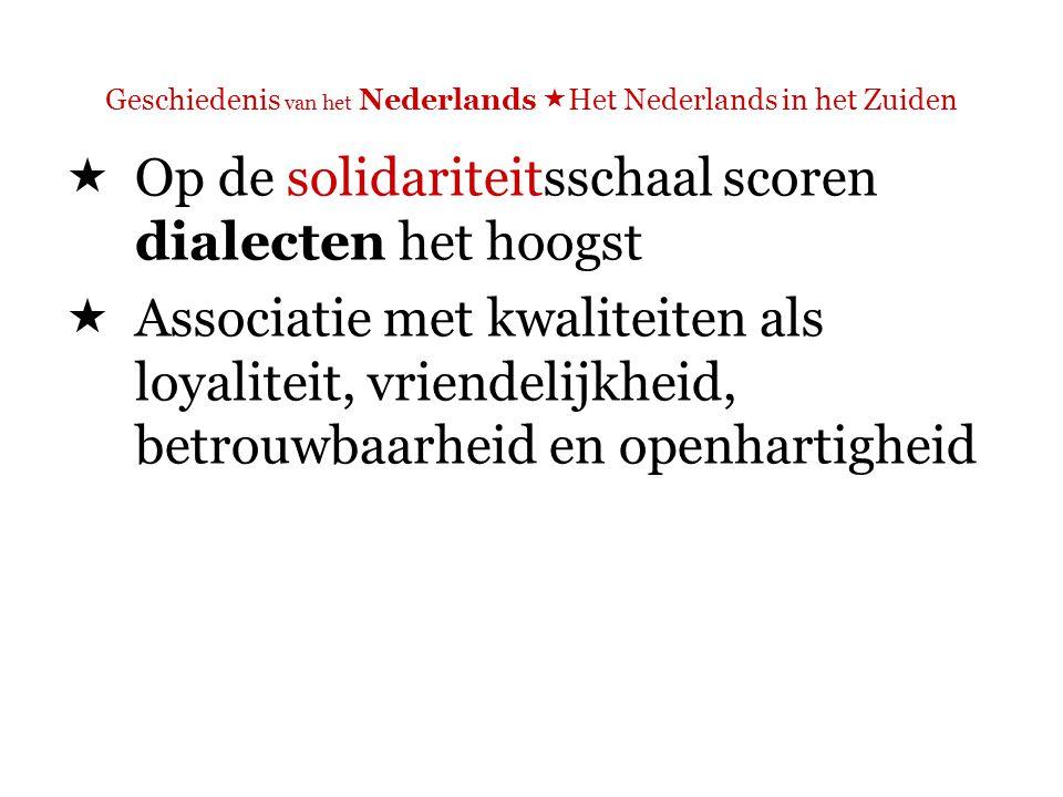 Geschiedenis van het Nederlands  Het Nederlands in het Zuiden  Op de statusschaal scoort de standaardtaal het hoogst  Geassocieerd met kwaliteiten als intelligentie, zelfvertrouwen, ambitie en bekwaamheid