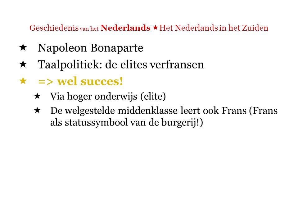 Geschiedenis van het Nederlands  Het Nederlands in het Zuiden  => wel succes.