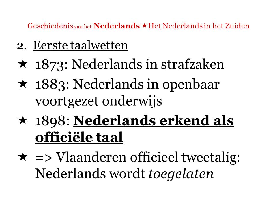 Geschiedenis van het Nederlands  Het Nederlands in het Zuiden  De eerste Nederlandse rede in het Belgisch parlement werd uitgesproken in 1869.
