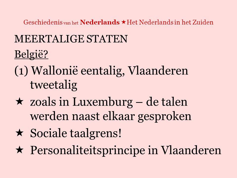 Geschiedenis van het Nederlands  Het Nederlands in het Zuiden MEERTALIGE STATEN België.