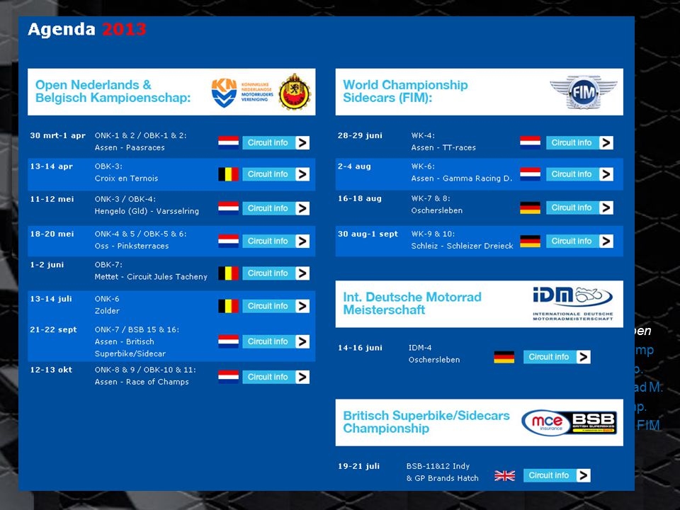 Keppel Sidecar Team 2013 Website: www.keppelsidecarteam.nl  Allerlaatste nieuws NNieuwsbrieven AAgenda FFoto s SSponsor-links CCircuit informatie TTussenstanden AActueel weer