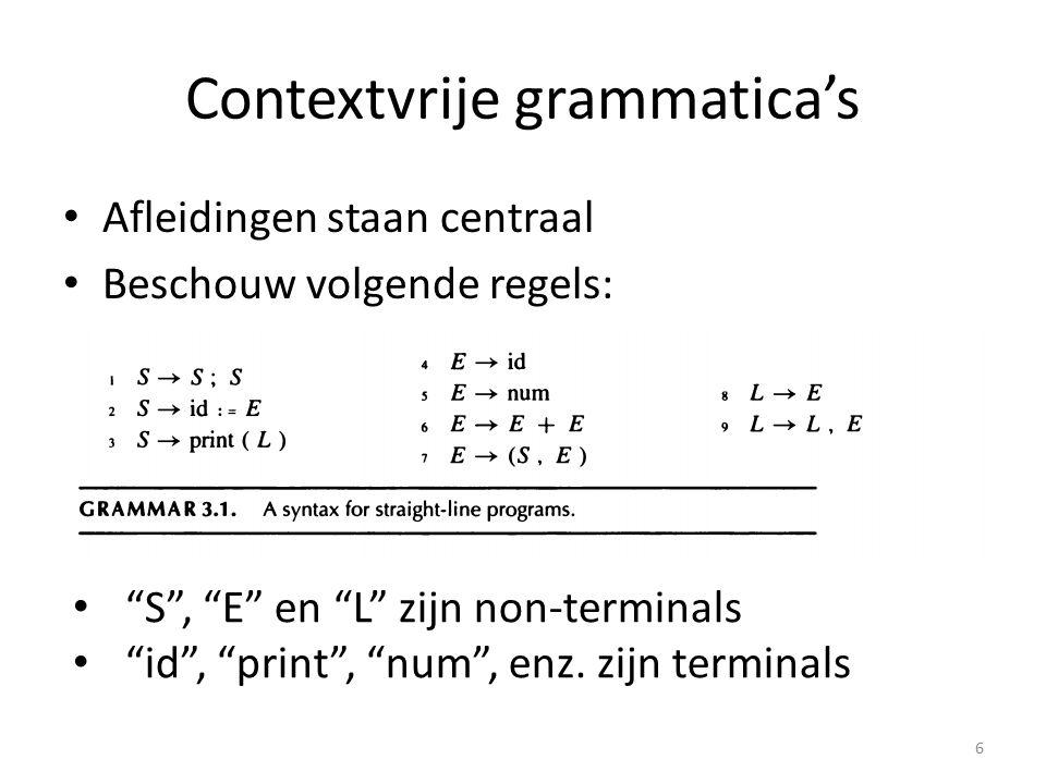 Afleiding van een zin: id := num; id := id + (id := num + num, id) 7