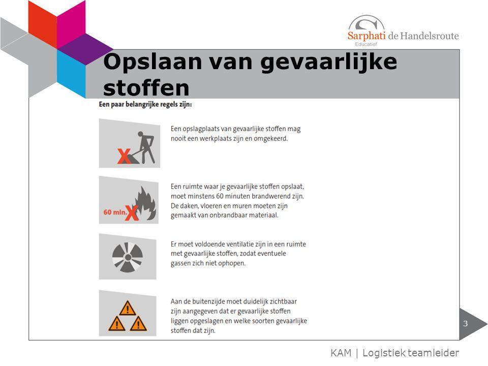 Risico-inventarisatie en –Evaluatie (RI&E) onderdeel van RI&E is het registreren van elke gevaarlijke stof waar medewerkers aan worden blootgesteld 4 KAM   Logistiek teamleider Administratie van gevaarlijke stoffen