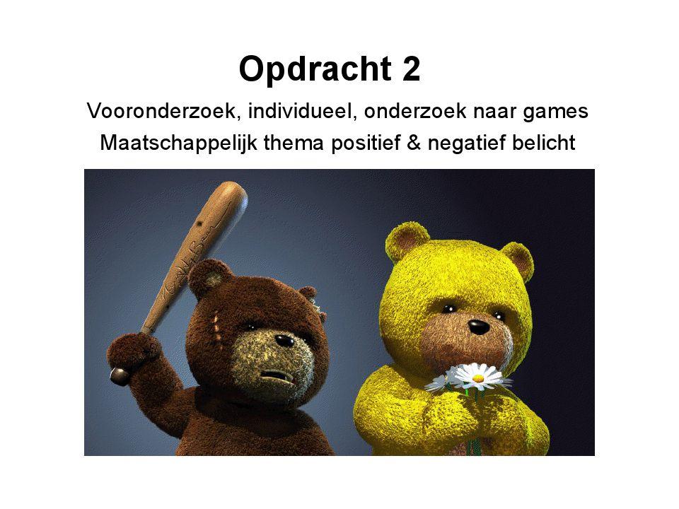 Presentatie Opdracht 2 Vooronderzoek (individueel) Onderzoek naar games waarin jouw maatschappelijk thema positief wordt belicht.