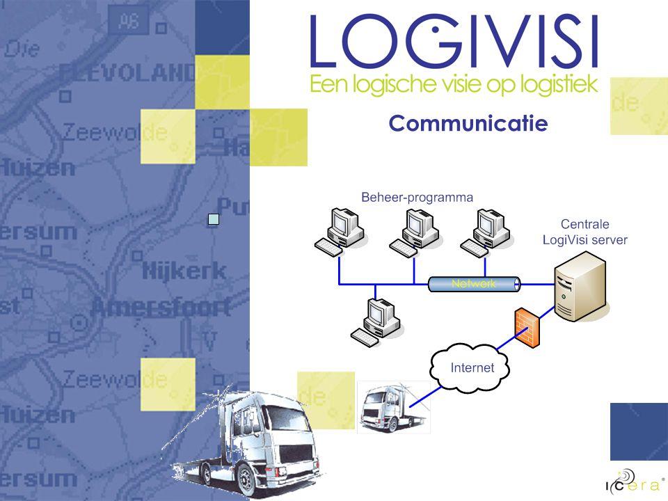 LogiVisi onderdelen Realtime-koppeling CANbus Planning op kantoor Ontvangst door chauffeur Navigeren naar bestemming vanuit de planning Berichten van/naar kantoor